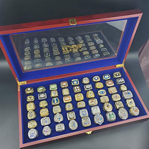 LHANZ Superbowl Champions Ring,54pcs Football Championship Rings Set with Wooden Box,1966-2020LIV American Football Fan Replica Colection…