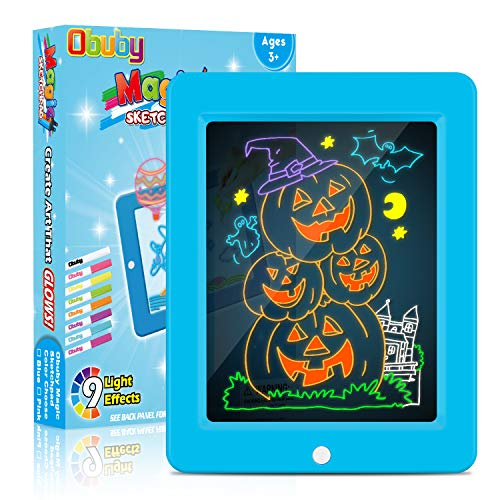 Obuby Magic Pad Educational Learning Kids Toys Gifts for 3 4 5+ Ages Boys and Girls, Light Up Drawing Board Ultimate Tracing Pad with 9 LED Light Effects Glow in The Dark Art Doodle Color Set(Blue)