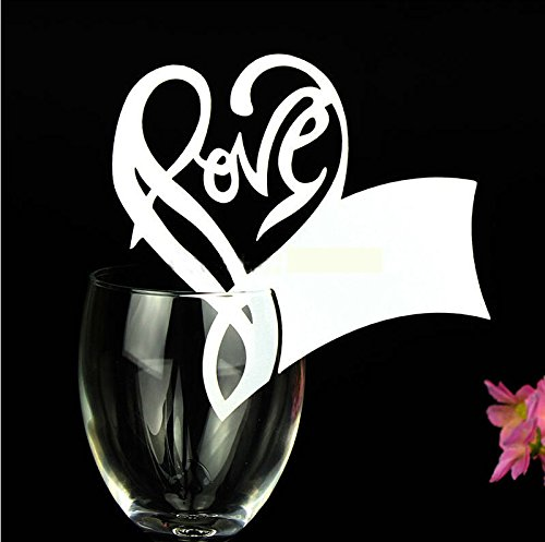 Worldoor 50 White Gorgeous Love Letter Heart Laser Cut Wedding Table Name Place Cards Wine Glass Party Decoration Centerpieces/ Laser Cut Love Heart Wine Glass Name Place Cards Seating Cards Table Name Cards Wedding Party Decoration