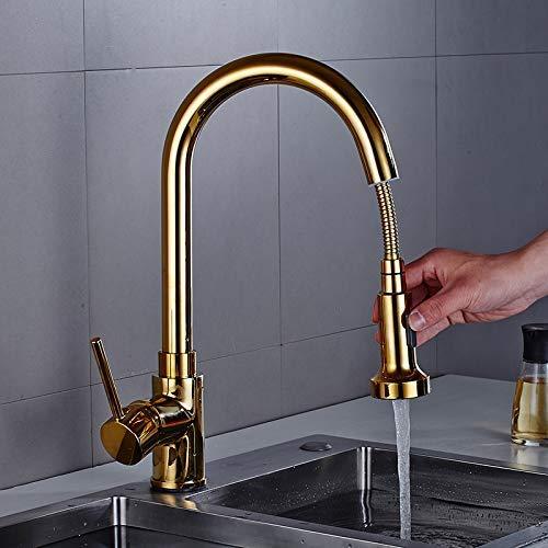 Uitneembare kraan voor de keuken, goudkleuren, keukenkraan, 360 graden