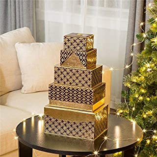 Glitzhome Christmas Thanksgiving Day Gift Boxes, Nesting Lids in 5 Assorted Sizes, Holiday Decorative Wrapping