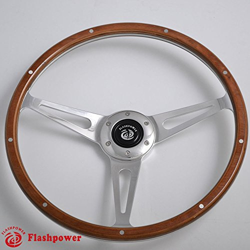 14'' Classic Riveted wooden steering wheel with 6 bolt and Horn Button