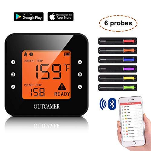 YUEBO Grillthermometer Bluetooth, BBQ Thermometer Fleischthermometer Grill, Smart mit 6 Edelstahl Sonden Remoted Monitor für Kochen Raucher Ofen Küche, Unterstützung IOS & Android