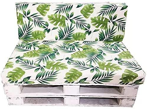 Bisi Goro Pack Cojin Palet Fibra Cojín Relleno, Incluyen Cojín de Respaldo y Asiento, Ideal para Jardín, Terraza, Patio y Balcón (Hoja 2)