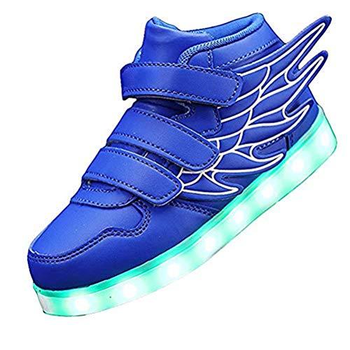 Kids'LED Mode Schuhe Light up Turnschuh-Trainer mit Flügeln 7 Farben Blinklicht für Jungen-Mädchen-Geschenk-Hoch-Spitze Turnschuhe USB-Gebühr,Blau,25