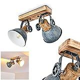 Deckenleuchte Orny, Deckenlampe aus Metall/Holz in Grau/Weiß/Braun, 2-flammig, mit verstellbaren...
