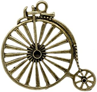 Tibetan Penny Farthing Bicycle Charm Pendants Antique Bronze 50mm 3 Packs of 5
