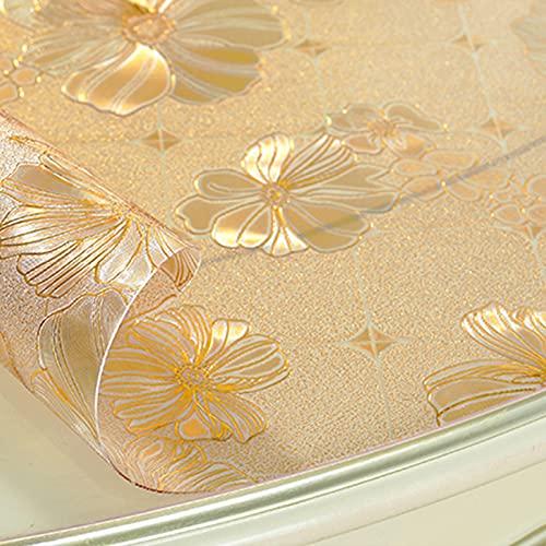 NBJT Protector de mesa transparente, 1,5 mm de grosor, diseño de flores doradas de PVC, para comedor, escritorio, mesa de comedor, comedor, silla, 100 x 100 cm