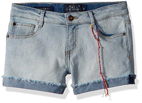 Lucky Brand Girls' Big 5-Pocket Cuffed Stretch Denim Shorts, Riley Bella wash, 8