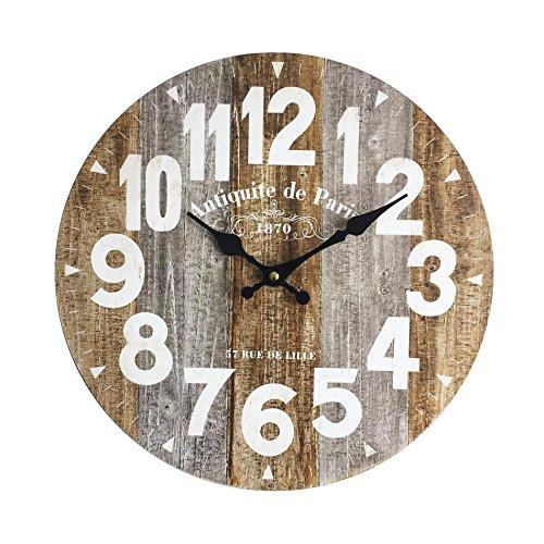 Rebecca Mobili Reloj de Pared, Relojes industriales para Colgar, Madera MDF, analógico, para Cocina, Sala de Estar - Medidas Ø 34 cm x P 4 cm (AxANxF) - Art. RE6145