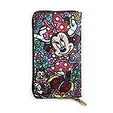 Mickey Mouse Minnie Cartera de cuero con cremallera cartera larga titular de la tarjeta de crédito doble cara impresión de cuero suave teléfono móvil monedero bolso mujeres hombres