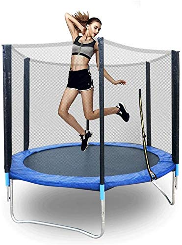 Suge 8ft Outdoor Fitness Kids Trampoline Large-Scale Home Trampoline with Guard Net, Adult Indoor and Outdoor Parent-Child Entertainment Trampoline, 2.4m Diameter