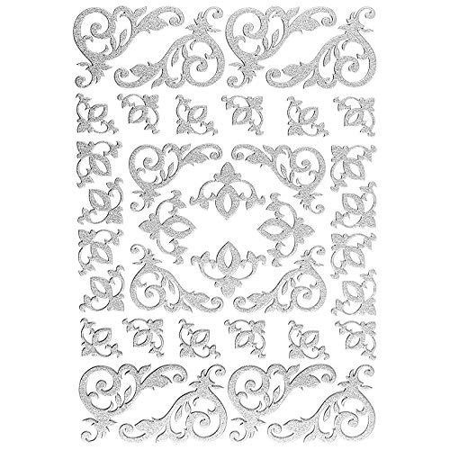 Ideen mit Herz 3-D Sticker Deluxe | Zur Hochzeit, Verschiedene Hochzeitsmotive | Erhabene Aufkleber | Bogengröße: 21 x 30 cm (Eckornamente | Silber)