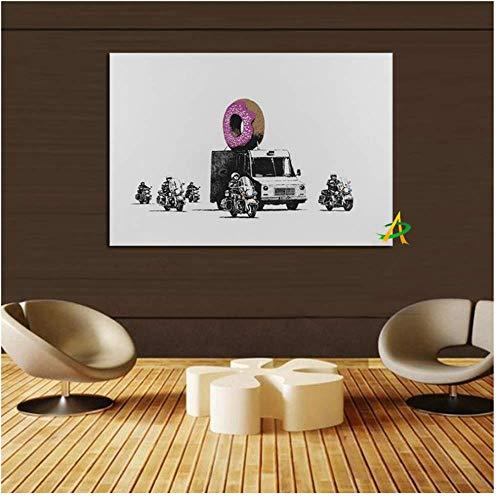 RUIQIN YWDECOR Impressão em tela de arte pop, pôster de arte de parede de veículos blindados e motocicletas, imagem de decoração de sala de estar, 60 x 90 cm, sem moldura