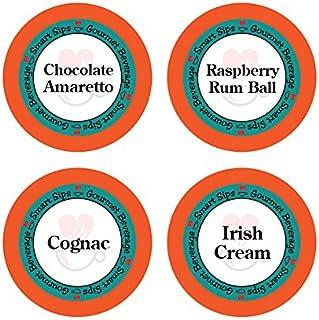 Smart Sips, Liquor Lovers Flavored Coffee Variety Sampler- Raspberry Rum Ball, Cognac,