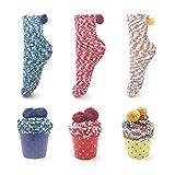 Leapop 1 oder 3 Paare Damen Mädchen Socken Cupcakes Design Flauschig Gemütliche Weiche Dicke Warme Weihnachtssocken mit Geschenkbox (3 Paare (dunkelblau+gelb+rot))