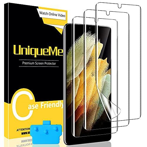 UniqueMe [3 Pezzi]Pellicola Protettiva Compatibile con Samsung Galaxy S21 Ultra(6.8 Pollici), [Easy to Install] [Bubble-Free]Soft HD Clear TPU Film con Un Perfetto Servizio Post-Vendita.
