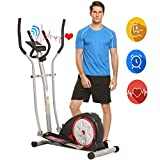 ANCHEER Elliptical Machine, Elliptical Exercise Trainer Machine with LCD Monitor and Pulse Rate Grips, Magnetic Smooth Quiet Driven for Home Using, Top Levels Elliptical Trainer (Navy Black)