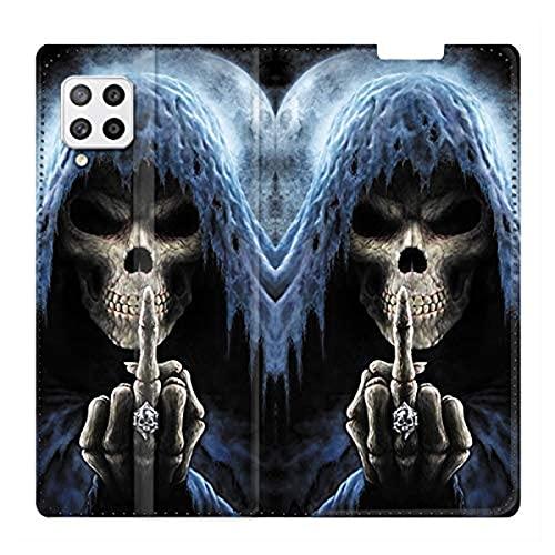 Schutzhülle aus Leder für Samsung Galaxy A12, Motiv: Totenkopf & Finger