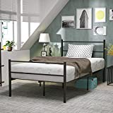 mecor Metal Twin XL Bed Frame, Platform Bed for Kids Girls Boys Adults with Steel Headboard Footboard, with Durable Metal Slat Support,No Box Spring Needed, Twin XL Size, Black