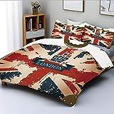 Juego de funda nórdica, maleta de viaje vintage con bandera británica, cinta de Londres y imagen de corona Juego de cama decorativo de 3 piezas con 2 fundas de almohada, azul oscuro rojo marrón, el me