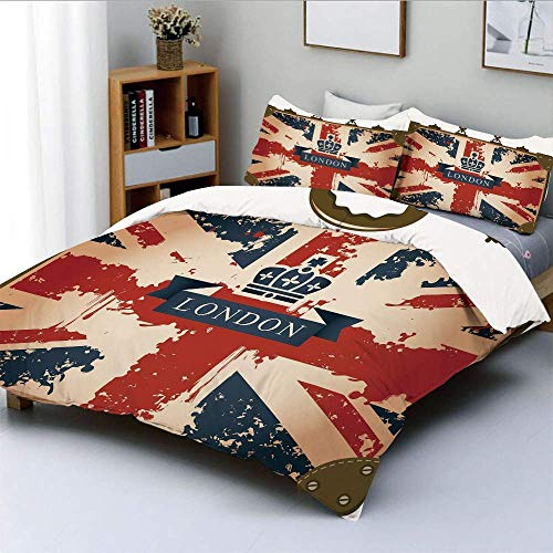 Duvet Cover Set,Vintage Travel Suitcase with British Flag London Ribbon and Crown Image Decorative Decorative 3 Piece Bedding Set with 2 Pillow Sham,Dark Blue Red Brown,Best Gif