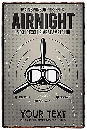 American Classic Avión Fighter Vintage Estilo Metal Signo de Hierro Pintura para interior y exterior Home Bar Café Cocina Decoración de Pared 20 X 30 cm
