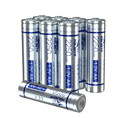 melasta Rechargeable AA Batteries, 2250mAh 8-Pack 1.2V NiMH Double A for Household Devices (Rechargeable 1200 Times,Precharged,Long-Lasting & Low-self Discharge New Material)