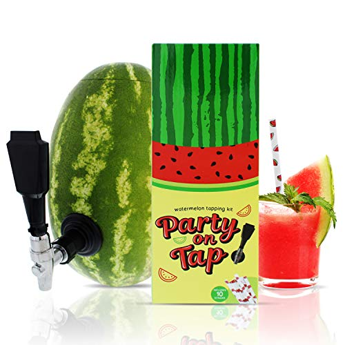 Party On Tap Watermelon Tap Kit Plus 120 Paper Straws - Includes Keg Spout, Coring Kit, Instructions
