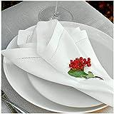 Linen & Cotton Set di 4 Tovaglioli in Stoffa con Orlo A Giorno Florence, 100% Lino - 43cm ...