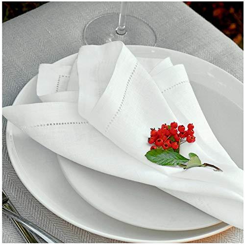 Linen & Cotton 4 x Elegante Festliche Stoffservietten Florence - 100% Leinen Weiß Weiss (43 x 43cm) Servietten Stoff Napkins Leinenservietten für Hochzeit Gastronomie Home Küche Dekoration Restaurant