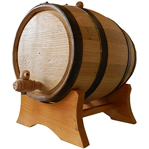 Oak Beverage Dispensing Barrel with Black Steel Bands - 10 Liter