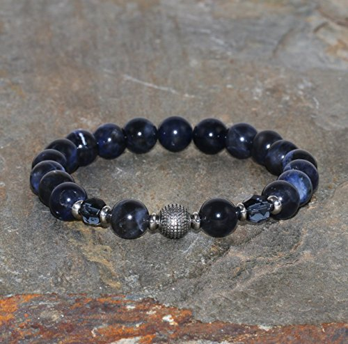 Pulsera de Sodalita Africana de 8 mm de Grado AAA, Sodalita de Sudáfrica, Joyería de Cuentas de Piedras Preciosas Naturales, Cristales Checos Azules
