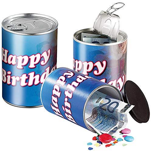 infactory Geschenk-Schachtel: 3er-Set Geschenkdosen Happy Birthday - originelle Präsent-Verpackung (Metalldosen)