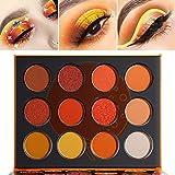 Orange Yellow Eyeshadow Palette, DE'LANCI Pro Matte Shimmer Metallic 12 Shades, Subtle Fall Sunset Natural Tones Eyes Shadows Makeup Pallet, High Pigmented Waterproof Small and Cute Makeup Pallet