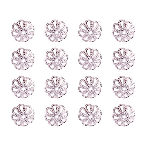 PandaHall 10g 8x3mm Metal Flower Bead End Caps for DIY Jwewlry Making, Jewelry Findings, Silver Color