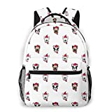 Christmas French Bulldog Santa Claus Gorro Bufanda 3D Customized Unisex Travel Daypack Bookbag Casual Backpack
