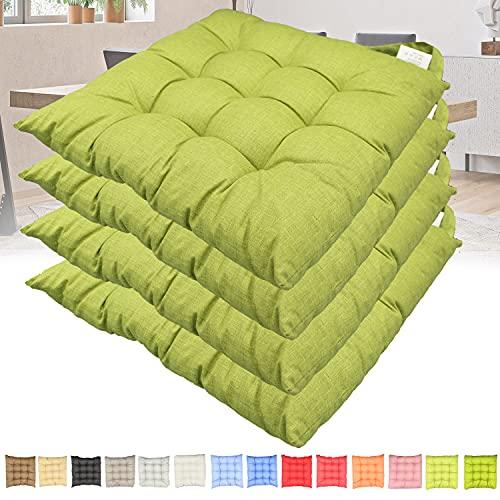 Set 4 cuscini sedia con lacci Casaviva Made in Italy lavorati a mano in 100% cotone stampato effetto lino imbottitura deluxe 7 cm (verde mela)