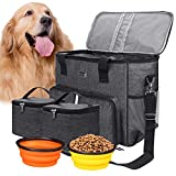 BAGLHER | Dog Travel Bag, Cat and Dog Travel Bag for Pet Travel Supplies, with 2 Pet Food Containers and 2 Collapsible Silicone Bowls, Large Capacity Pet Supplies Tote, Grey