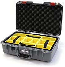 Silver & Red Pelican 1485 Air case with Yellow dividers.