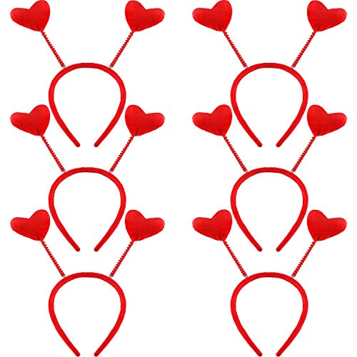 Jovitec 6 Pieces Heart Head Boppers Valentine's Day Headband Hair Accessories for Holiday Costume Party (Style 1)