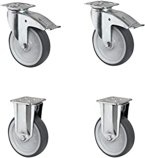 CASCOO SETTAFA125P2T2P0N wielenset 2 zwenkwielen met vastzetter, 2 bokwielen, polypropyleen, diameter 125 mm, apparaatwiel...