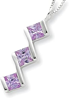Lex & Lu Sterling Silver Purple CZ Pendant w/Chain 18""
