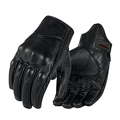Full finger Goat Skin Leather Touch Screen Motorcycle Gloves Men/Women S,M,L,XL,XXL (Non-Perforated, XXL)