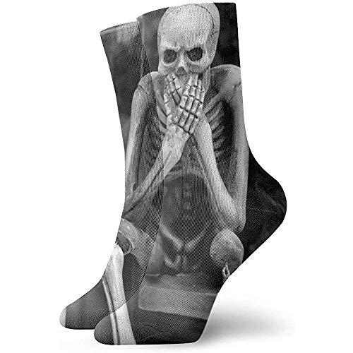 ulxjll Sportliche Socken Skelette Im Freien Cosplay Bequeme 30Cm Wadensocke Unisex Crew Socken Neuheit Arbeit Gedruckt Lustig Langlebig Leichtgewicht