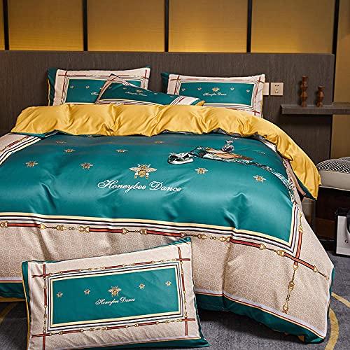 Funda De EdredóN 220x240,Luz de estilo nórdico Luz de lujo lavado Seda de seda, juego de cuatro piezas, soleado de verano, cama para el hogar, ropa de cama para edredones-Q_1,8 m de cama (4pcs)