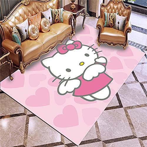 Savorlife Alfombra de Hello Kitty con dibujos animados en 3D, diseño de Hello Kitty para sala de estar, dormitorio, alfombra antideslizante para decoración del hogar (08,160 x 200 cm)