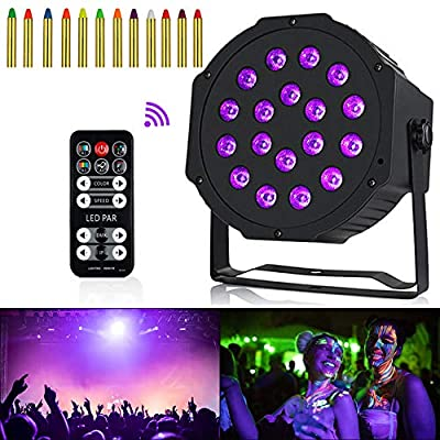 Anpro 54W 18LED DMX512 UV LED Stage Light Ultraviolet Black Light 7 DMX Channel Glow in the Dark with IR Remote Control for Glow Party