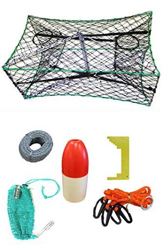 KUFA Galvanized Foldable Crab Trap & Accessory Kit (100' Lead Core Rope, Clipper,Harness,Bait Case & 13' Red/White Float) S33+CAC37