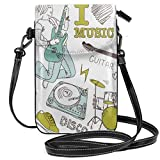 Jiger Women Small Cell Phone Purse Crossbody,I Love Music Themed Sketch Composition Instruments Musician Girl